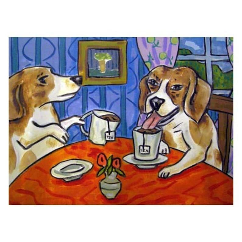 beagle on a scale animal diet dog art tile coaster gift