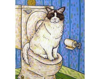 cat art - Fluffy Cat in the Bathroom Art Print, cat gifts, gift