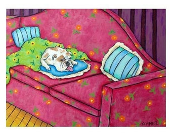 bulldog art - Bulldog art PRINT, poster gift, dog, dog art, sleeping, bedroom art,  modern dog art PRINT
