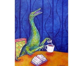 Procompsognathus at the coffee Shop Dinosaur Art Print