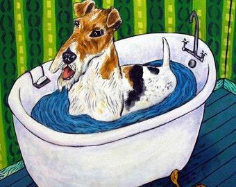 Fox Terrier Taking a Bath Dog Art TIle Coaster