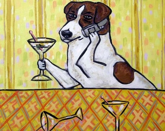 Jack Russell Terrier at the Martini Bar Dog Art TIle Coaster Gift