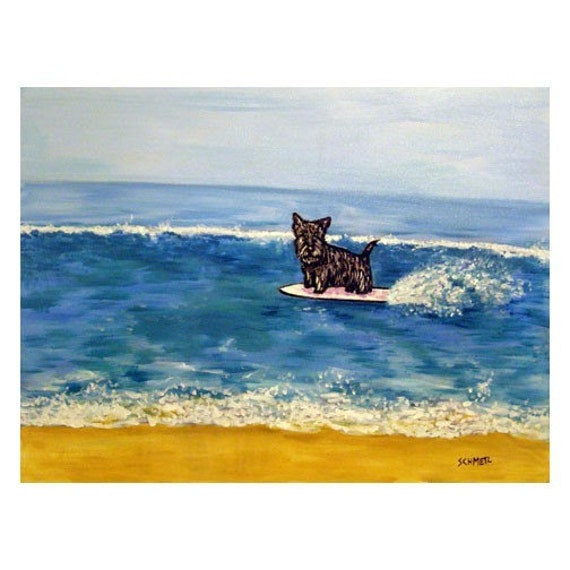 scottish terrier living room wall art 11x14 JSCHMETZ modern dog impressionism