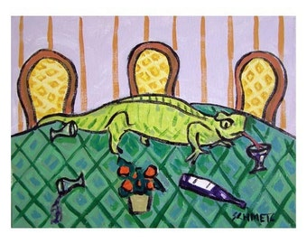 Lizard at the Reception Reptile Art Print