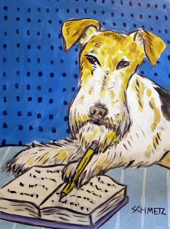 FOX TERRIER BATHROOM picture dog ART        8.5x11 glossy photo print
