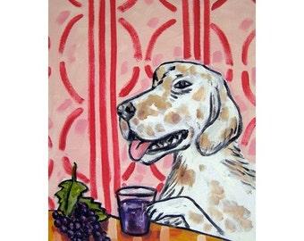 English Setter Drinking Juice Dog Art Print 11x14 JSCHMETZ modern FOLK  POP art kitchen