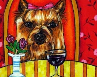 Yorkshire Terrier Wine art Bar Dog Art Tile Coaster Yorkie JSCHMETZ abstract folk ART pop art MODERN