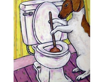 Jack Russell Terrier Plunging a Toilet Dog Art Print