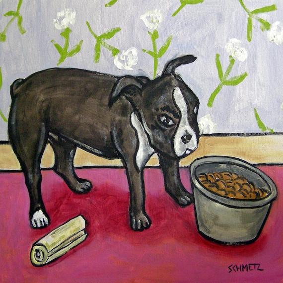 boston terrier violin painting whimsy dog art print 11x14 PRINT modern folk art