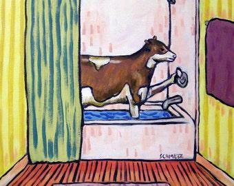 Cow Taking a Bath Art Print  abstract folk pop art modern JSCHMETZ