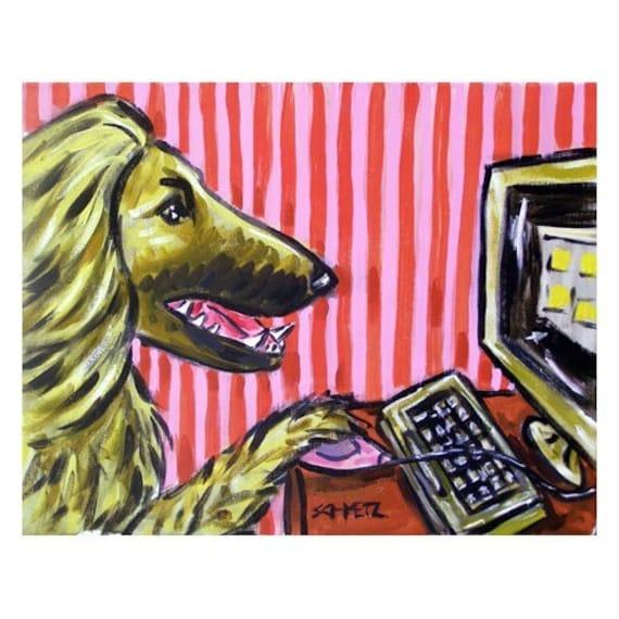 AFGHAN HOUND dog art PRINT 13x19  coffee wall art decor