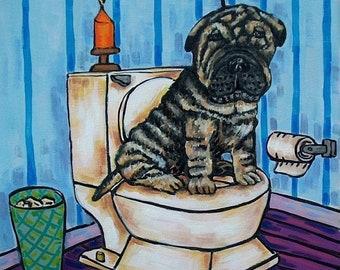 25% off Shar Pei in the Bathroom Dog Art Tile Coaster Gift