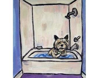 Cairn Terrier Taking a Bath Art Print