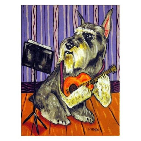 CHIHUAHUA playing the banjo  dog art print 11x14 artwork music room