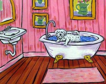 Maltese Taking a Bath Dog Art Tile Coaster
