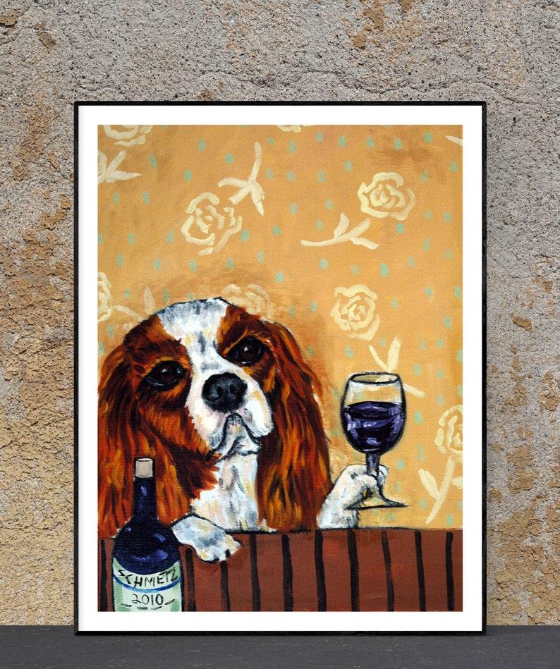 WINE art with a bichon frise dog PRINT 8x10 poster gift modern folk art JSCHMETZ