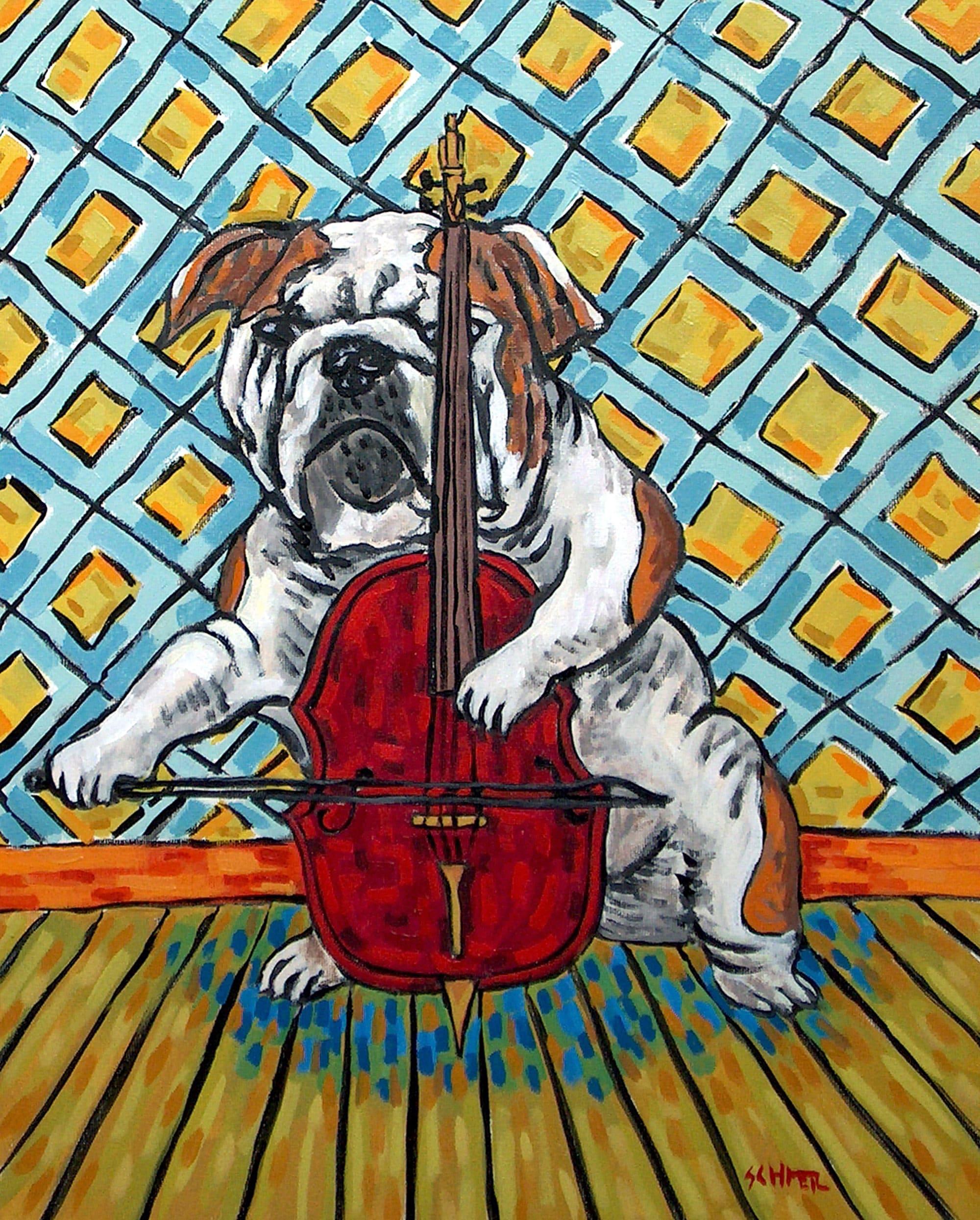 pit bull terrier dog art  american painting canoe   folk pop  GLOSSY PRINT