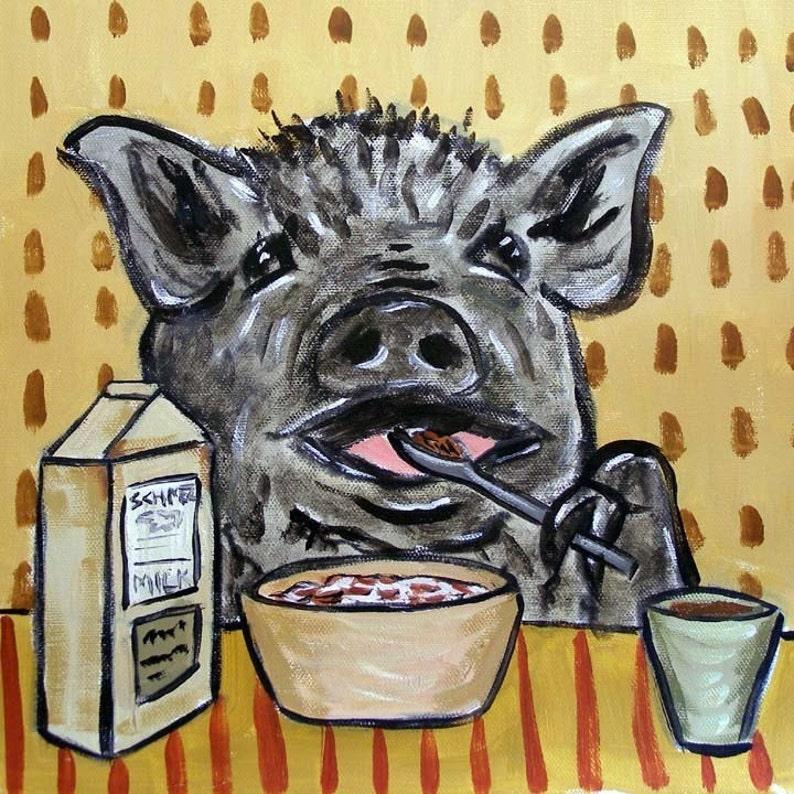 pig art tile ceramic coaster gift modern folk art pig print on tile living room