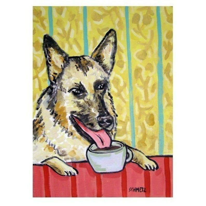 GERMAN SHEPHERD wine DOG  art print nimals impressionism 11x14