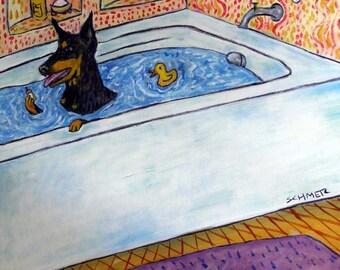 Doberman Pinscher Taking a bath Dog Art Tile Coaster JSCHMETZ american modern folk art