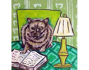 cat art - Burmese Cat Reading a Book Animal Art Print, cat gifts, gift