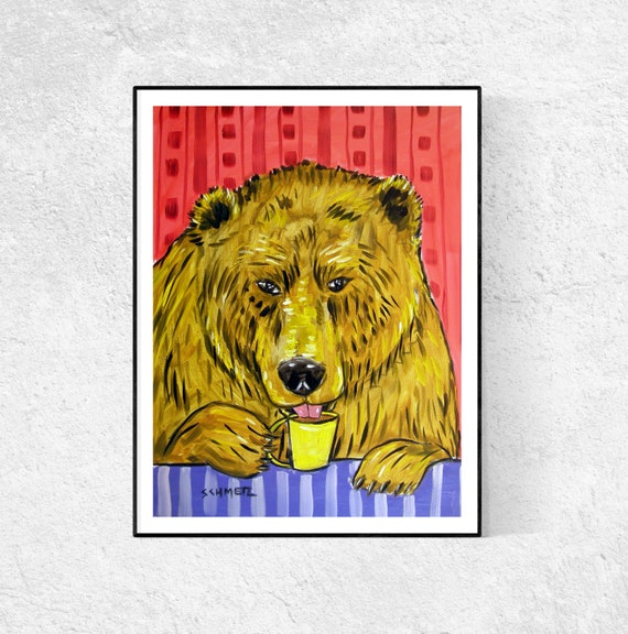 brown bear coffee picture  animal Art print 8x10 impressionism gift artist
