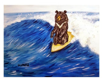 Black Bear Surfing Art Print