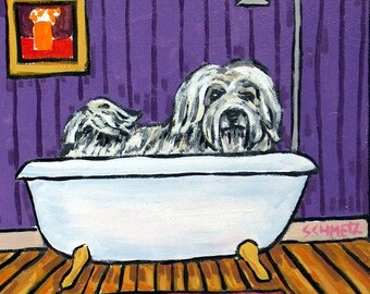 Havanese Taking a Bath  Dog Art TIle COaster Gift