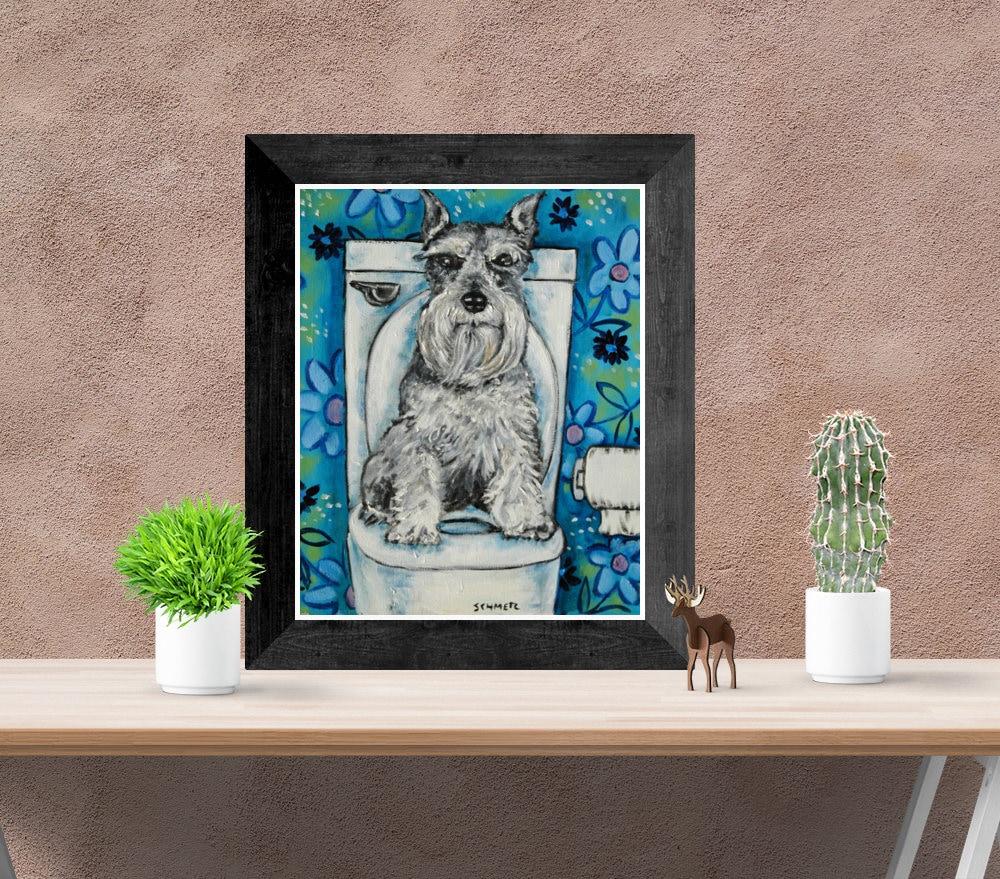 schnauzer bathroom bather dog 13x19  art PRINT JSCHMETZ