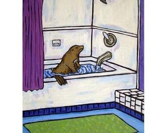Sea Lion Taking a Bath Animal Bathroom Art Print