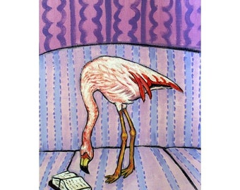 Flamingo Reading Art Print