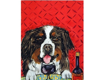 Bernese Montain Dog At The Wine Bar Note Card Art Stationary Greeting Cards Animal Decor