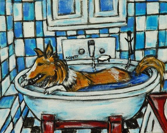 shetland sheepdog sheltie in the bathroom wall art 13x19 gift  by JSCHMETZ