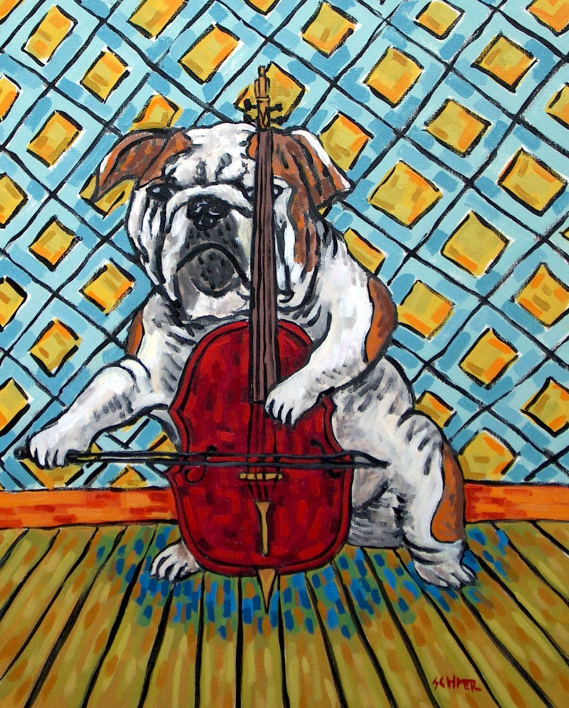 bulldog flossing 8x10 dog  artist prints animals impressionism gift new