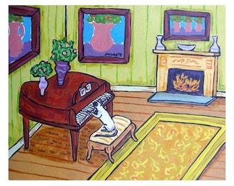 cat art - Siamese Cat Playing the Piano Animal Art Print, cat gifts, gift