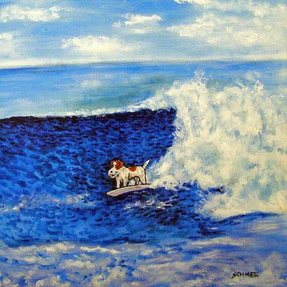 JACK RUSSELL terrier wine 8x10  art artist print animals impressionism