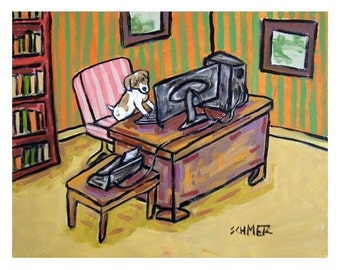 Jack Russell Terrier in a Home Office Dog Art Print