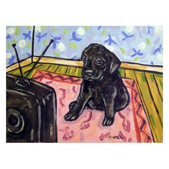 LABRADOR RETRIEVER WINE  art print animals impressionism 11x17 glossy new