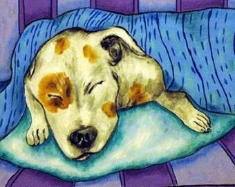 Pit Bull Terrier Sleeping Dog Art Tile Coaster Gift
