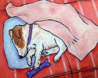 Jack Russell terrier ,sleeping dog, jack russell art, jack russell print on tile, ceramic coaster, modern dog art,bedroom art