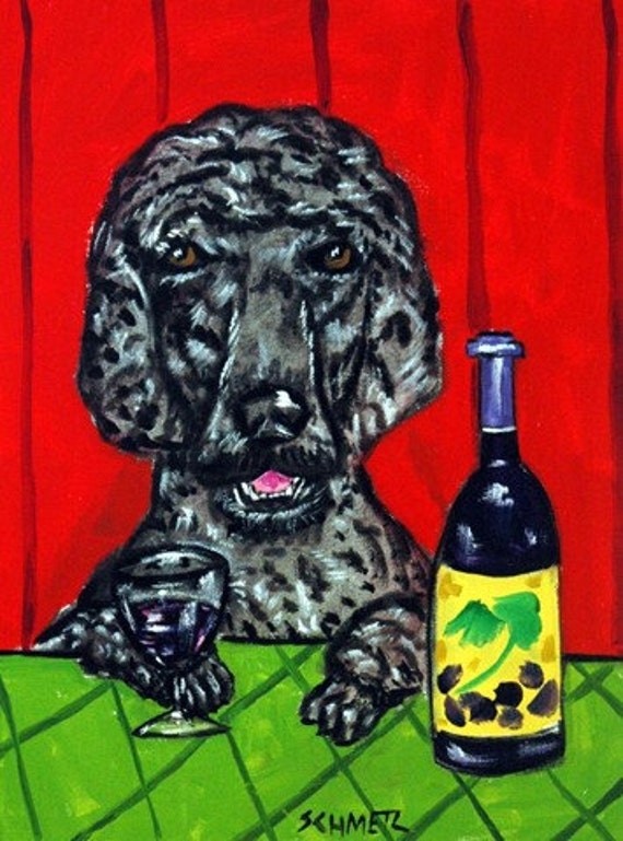 WINE art Poodle dog gift modern folk poster from painting 13x19 JSCHMETZ