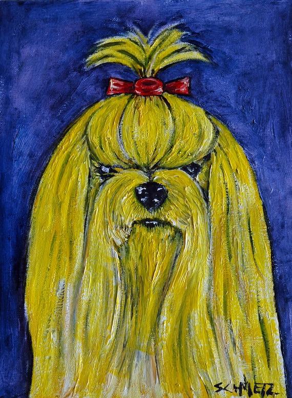yorkshire terrier wine picture animal dog art tile