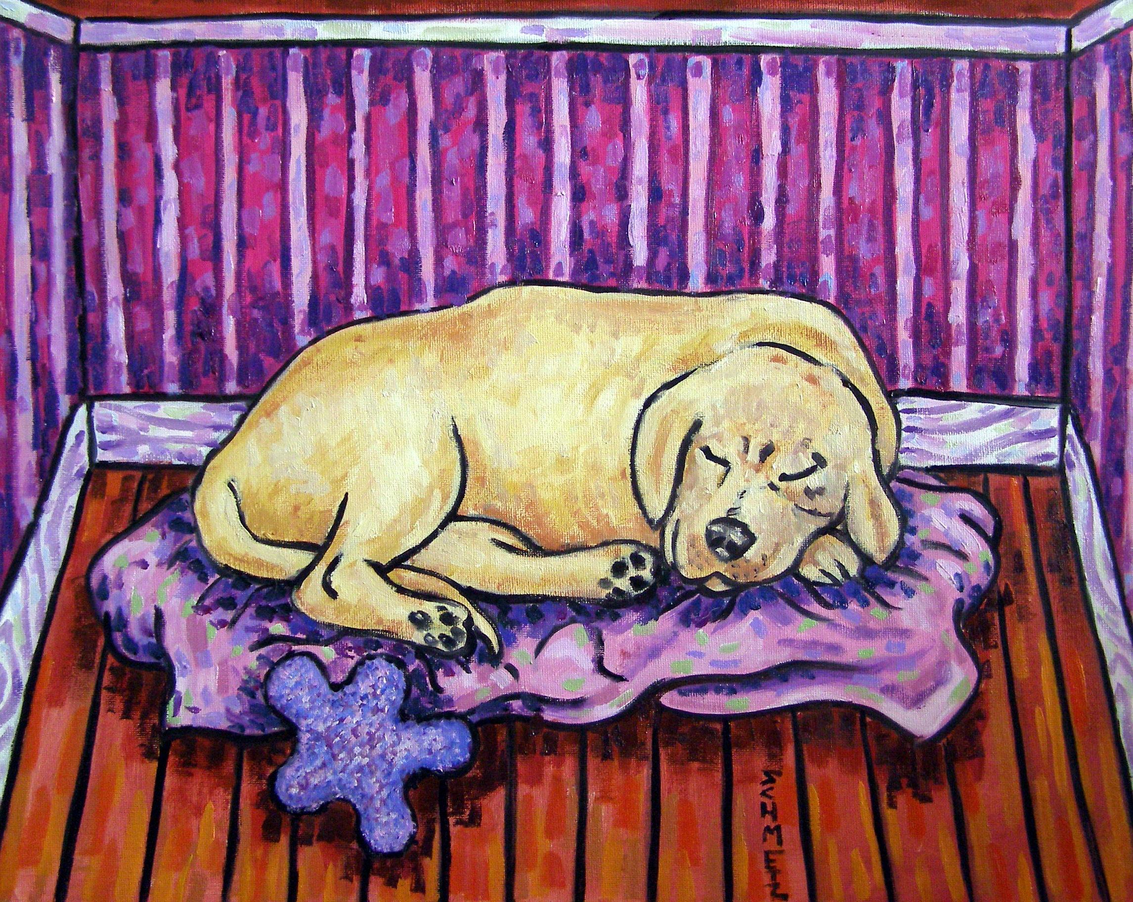 DACHSHUND SLEEPING WITH DOG BOWL SIGNED DOG ART PRINT 13X19 GIFT GIFTS PRINTS