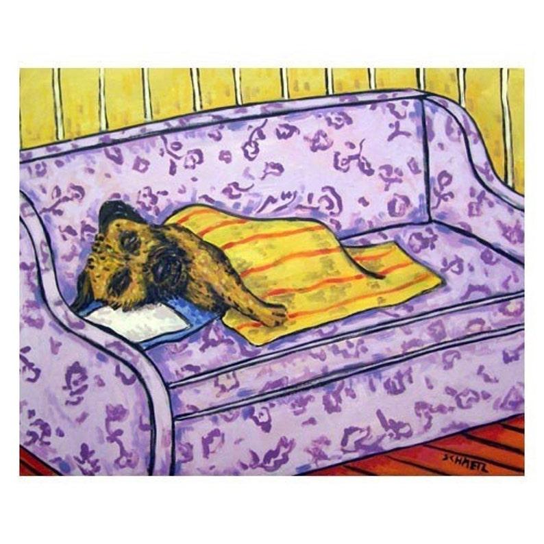 Border Terrier Taking a Nap Dog Art Print  JSCHMETZ modern abstract folk pop art AMERICAN ART gift