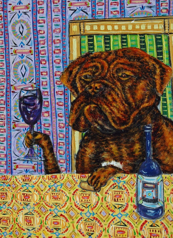 rhodesian ridgeback at the wine bar picture 11x14 animals impressionism