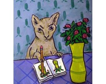 cat art - Gray Cat Artist Animal Art Print, cat gifts, gift