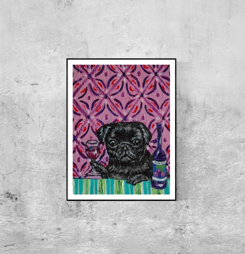 VIZSLA dog PRINT pop abstract WINE art painting 8x10 gift JSCHMETZ AMERICAN folk