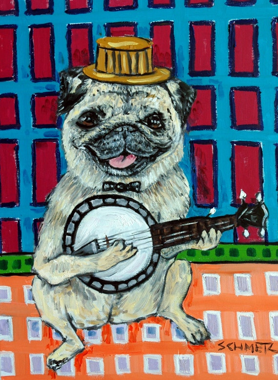 pug Doing Needlepoint animal dog art tile coaster gift