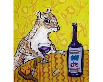 Grey Squirrel at the Wine Bar Art Print