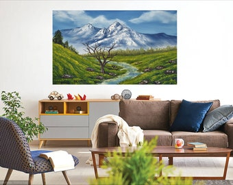 Mountain stream scene landscape wilderness home decor art, ready to hang canvas print or unframed print on paper